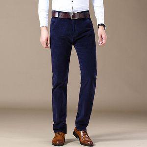 SHAN BAO Hombres Equipada recta cómoda de algodón de pana pantalones casuales otoño e invierno Marca Business Casual pantalones delgados