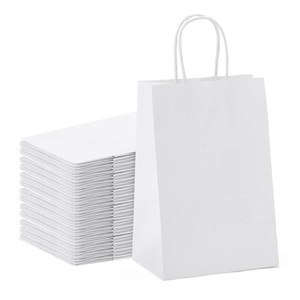 Promotion! Kraft Paper Bags 25Pcs 5.9X3.14X8.2 Inches Small Paper Gift Bags White With Handles Shopping Pa