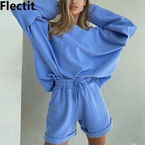 Flectit женщины костюмы Негабаритного пуловер Толстовка + Шорты 2 шт Sweatsuit Комплекты Cozy Comfy тренировку Lounge Set *