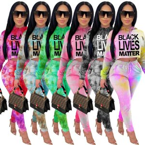 Women's 2 Piece Set Tie Dye Black Lives Matter Letter Print Hooded Top Fall Clothes Winter Clothing Two Piece Top and Pant Set