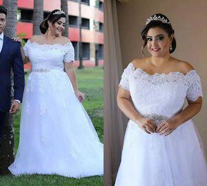Chic White Spring Wedding Dresses A Line Plus Size Off Shoulder Garden Bridal Gowns Lace Appliques Short Sleeves Vestidos de Novia 2021 New