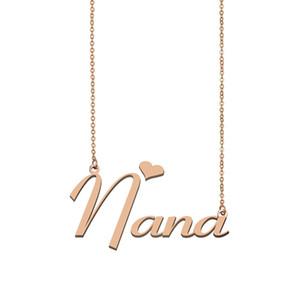 Nana Nom Collier personnalisé pour Nameplate Pendentif Femmes Filles cadeau d'anniversaire d'enfants Meilleurs amis Bijoux 18k Acier inoxydable plaqué or