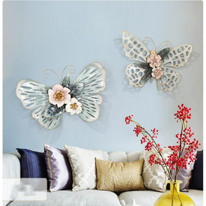 Modern Wrought Iron Butterfly Wall Decoration Wall Hanging Crafts Livingroom Sofa Background Sticker Mural Ornaments Decor