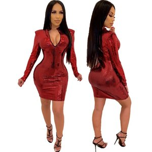 Pailletten lange Hülsen-Frauen-Kleider Stehen Neck Solid Color Sexy dünner Frauen-Designer-Kleid-beiläufige heiße Verkaufs-Kleidung