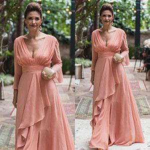 Elegant Chiffon V Neck Mother of the Bride Dresses Long Sleeves Ruffles Ladies Formal Evening Gowns Custom Made