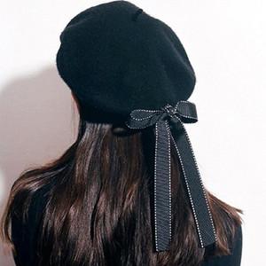 Cappelli Primavera Autunno Inverno Femminile Colorblocked bordo Ribbon Bow lana Beret Hat Pittore masterizzazione torta