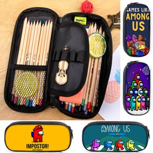 Among Us Creative Cartoon Pencil Case for Kid Teenager Boys Girls Student Cute School Birthday Gift Stripe Zipper Pen Case