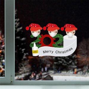 Janela Decoração de Natal quarentena Etiqueta Papai Noel Frigorífico Porta Wallpaper Frigorífico PVC Etiqueta Família do ornamento DWD2087