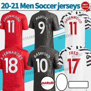 Манчестерская рубашка дома красный футбол джерси # 34 фургон девек # 18 B.FERNandes # 11 Greenwood 20/21 Black 3rd Zebra индивидуальные футболки
