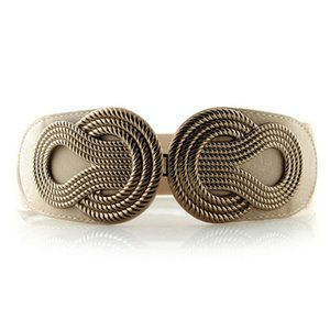 Fashion Women Elastic Waist Belt Vintage Alloy Buckle Cummerbunds Corset Female Stretch Waistband Strap Cinch