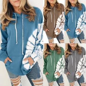 Les femmes ont imprimé à col manches longues Matching corde à capuche Jumper vêtement casaque Sweat Sweat à capuche Vêtements Casual KKF1854
