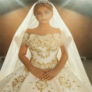 Gold Ball Gown Wedding Dresses Princess Appliqued Lace Sequins Beads Bridal Gowns Custom Made Ruched Satin Sweep Train Abiti Da Sposa