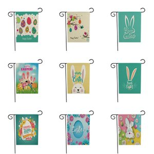 2021 16 style Creative Easter flag Linen double sided printing Garden Flag courtyard decoration Festival flag Easter Banner Flags T9I001073