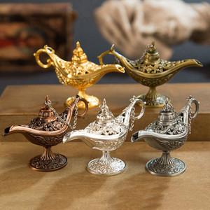 خرافة علاء الدين المصباح السحري خمر مبخرة الإبداع معدنية رائحة الشعلة متعدد الألوان البخور هدية عيد الميلاد