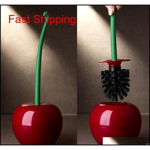 Creative Lovely Cherry Shape Lavatory Brush Toilet Brush & Holder Set (red) Free Shipping Hot Sell Wholesale qylYkL hairclippersshop
