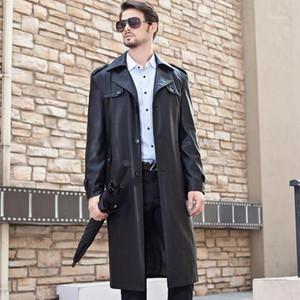 Plus velvet thicken winter autumn detachable liner leather coats men slim single-breasted long coat mens leather trench coats1