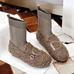 Famtiyaa Long Single Knee High Snowboots Woman Winter with Warm Furt Shoes Around the Nose Women Fashion 2020