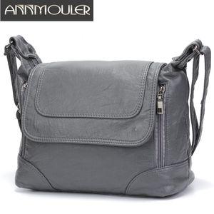 Annmouler Capacity Crossbody Brand Shoulder Soft Pu Leather Messenger Large Tote Bag Quality Women Bolsa Q1110