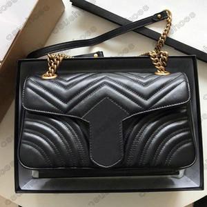 Marmont Chains Bag 443497 Body Body Body Sumbages Роскошные кошельки Дизайнеры Мода Женский Плечо Крестовика Кожаные Сумки