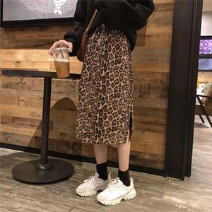 Fashion Women Leopard Print Skirts Autumn Winter Casual High Waist Slim Split Female Pencil Straight Skirt