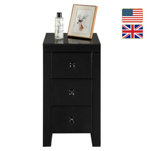 Stock in US UK LED Nightstand Organizer Bedside Table with Drawer Modern Double Storage Shelf Dropshipping