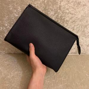 Nueva bolsa de aseo de viajes 26 cm Protección Maquillaje Zopper Bolsos Embrague Mujeres Genuine Cuero Impermeable 19 cm Bolsas cosméticas para mujeres 47542