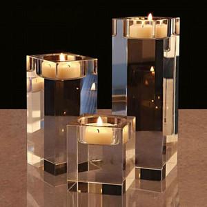 Religiöse Kristall Klarer Kerzenhalter Kleine Teelichtkandestick 6cm 10 cm 14cm Hochzeitsdekorationen Dinner Schreibtisch Tischstückepieces