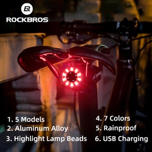 ROCKBROS Tail Bicycle Auto Sensing Brake Cycling USB Charging Waterproof Rear Light 7 Color Bike Accessories Q1