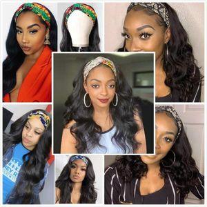 Vlwigs headband wig with full headband machine made wig always beauty human hair brazilian body wave for black women