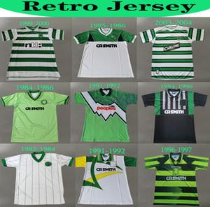 1982 84 86 En İyi Celtic # 7 Larsson 2000 2002 Retro Futbol Formaları 85 86 06 08 91 92 Vintage Futbol Gömlek Uzakta Yeşil Gillespie Cascarino