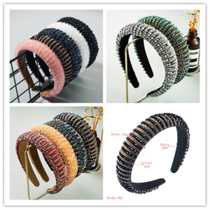 DHL Luxury Women's Full Crystal Rhinestone Sponge Embellished Padded Headband Girl Handmade beaded Hairband Jewelled Hair Accessories