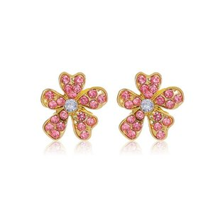 15Pairs Lot French Brand New Floral Ear Drop With Pink Crystal Korean Alloy Flowers Stud Earrings Women Party Souvenir Gift Earring Jewelry