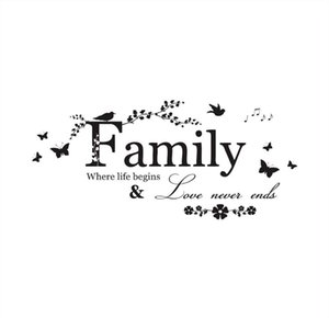 5 Pcs Family Where Life Begins & Love Never Ends - Wall Decal Sticker Quotes, Removable DIY Mural Sayings Wallpaper Home Decor