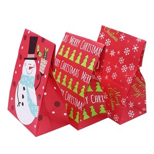 5Pcs Snowflake Merry Paper Snowman Food Cookie Christmas Packing Bag Birthday Party Favor New Year Gift Bags
