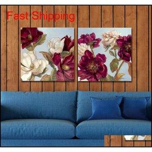 DYC 10061 2 UNIDS Flores rojas Impresión de arte listo Qylypd Bde_Luck