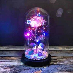 Artificial Flower Roses In Glass Cover With Night Light Ornaments Wedding Valentine Day Christmas New Year Home Decoration