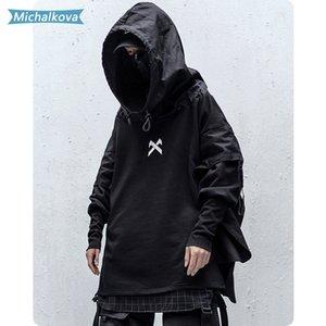 Japonês Hip Streetwear Man Hoodies Hop Embroideried pulôver Patchwork Falso Two DarkWear Tops Techwear Hoodies michalkova 1019