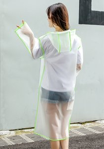 Transparent Rain Coat P V C Waterproof Raincoat Outdoor Travel Runway Hooded Poncho Rain Coats Ladies Rainwear