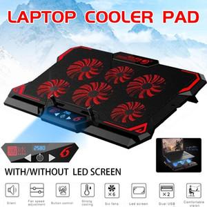 17inch Gaming Laptop Cooler Шесть вентилятора Led экран Два порта USB 2600RPM Laptop Cooling Pad Ноутбук Стенд для 2TYPE