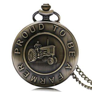 Vintage Bronze Комбайн Design «Гордый быть фермером» Слова Кварцевые карманные часы ожерелье высокого качества Fob Часы Подарок для Farmer