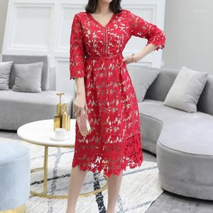 3XL 4XL 5XL Plus Size Woman Dress Runway Red Black Lace Dresses 2020 Large Size Wedding Vestidos1