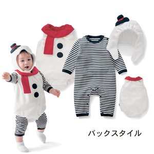 Children's one-piece christmas baby three piece suit striped Jumpsuit + Snowman coat + Hat baby suit children set Rompers