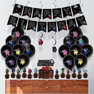1set Among Us Latex Balloon Game Banner Cake Topper Toys Black Happy Birthday Party Decorations Pet Cartoon Toys For Kids Adult GWE4178
