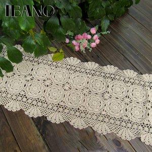 Ibano Handgemachte Baumwolle gehäkelte Tischdecke Spitze DOILIES Flower Tischläufer für Home Coffee Shop Tischdekoration 1pcs / lot y200421