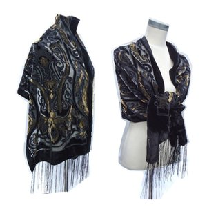 Fashion Crown Velvet Burnout Winter Shawl Women Beautiful Luxury Scarf For Wedding Pashmina Holiday Gift For Lovers Free 201026