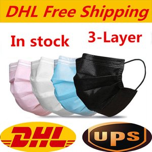 DHL UPS free shipping Disposable Face Masks black pink white with Box with Elastic Ear Loop 3 Ply Breathable Dust Air Anti-Pollution Face Ma