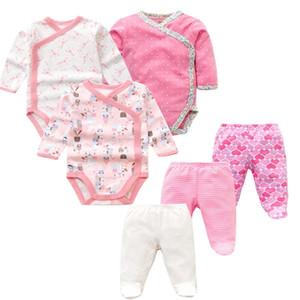 6 PCS  Lot Boys Girls Clothes Newborn Toddler Infant Spring Autumn Cotton Bodysuits+ Pants Baby Clothing Sets LJ201223