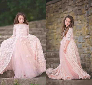 Pink Lace Princess Flower Girl Dresses For Weddings Toddler Little Girls Pageant Brithday Party Dress A Line Bautism Tulle Sleeve Christmas