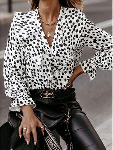 2021 패션 V 넥 여성 프릴 셔츠 폴카 도트 인쇄 풀오버 블라우스 새로운 디자이너 여성 의류