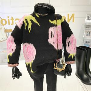 Pullover-Frauen lose tragen im Herbst und im Winter 2020 faul-stil retro jacquard langer pullover stricken top